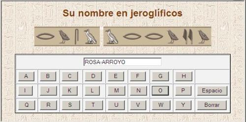 Rosa Arroyo en jeroglífico egipcio